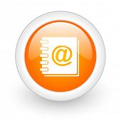 address book orange glossy web icon on white background