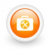 toolkit orange glossy web icon on white background