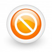 access denied orange glossy web icon on white background