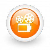 movie orange glossy web icon on white background