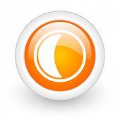 moon orange glossy web icon on white background