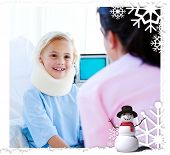 stock photo of neck brace  - Adorable little girl with a neck brace talking with a nurse against christmas themed frame - JPG