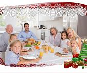 Happy family going to eat against snowflake frame