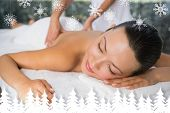 Content brunette enjoying a back massage against fir tree forest and snowflakes