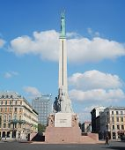 Riga, Latvia -September 17, 2014: Freedom Monument known as Milda. Located in the centre of Riga, Latvia on september 17, 2014. Riga is European Capital of Culture 2014.