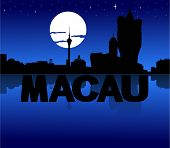 Macau skyline reflected with text and moon vector illustration