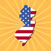 New Jersey map flag on yellow sunburst illustration