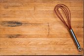 Aged Butcher Block Cutting Board with Flat Whisk