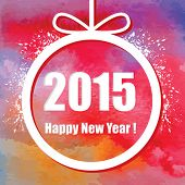 Happy New Year 2015.  Creative greeting card with watercolor effect. Vector.