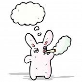 cartoon pink rabbit smoking cigarette