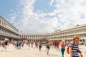 Venice, Italy  - 4 September, 2014: The Piazzetta San Marco, Venice.  St Mark's Square is the principal public square of Venice, Italy.
