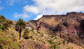 Landscape mountain with village Maska in Tenerife Spain