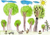 green forest wildlife, childlike drawing