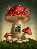 stock photo of toadstools  - Fantasy mushroom house in the forest - JPG