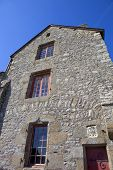 pic of mont saint michel  - houses inside the mont saint michel in the north of france - JPG