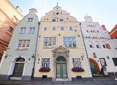 Riga, Latvia - September 19, 2014. Three Brothers Houses in Riga, on 19 September, 2014. One of the oldest buildings in Old Town.