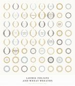 Set of Retro Silhouette Circular Laurel Foliate and Wheat Wreaths for Award Achievement Heraldry Nobility. Good for Guarantee and Quality Labels and Cards. Arrows, Bows and Vintage Labels