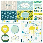 Vintage Rain & Sky Party Set - for Party Decoration, Scrapbook, Wedding - in vector