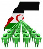 Lines of people with Western Sahara map flag illustration