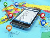 Travel destination and tourism concept. Smartphone on world map and pins. 3d