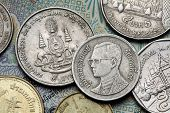 Coins of Thailand. King Bhumibol Adulyadej of Thailand and the Royal Golden Jubilee Emblem depicted in the old Thai baht coins.