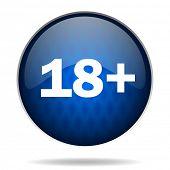 18 years internet blue icon