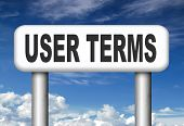 Terms of use or user terms and agreement