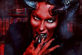 foto of hades  - Horned Devil with insects in the mouth - JPG