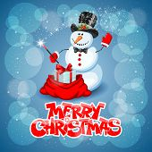 Christmas greeting card with cute snowman wizard on magic background