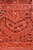 image of maori  - Detail of an old beautiful maori carving - JPG