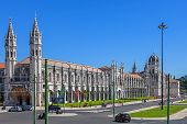 Lisbon, Portugal. August 24, 2014: The Jeronimos Monastery with the maritime Museum entrance on the left, and the Archeology Museum entrance at the middle in the Belem District. World Heritage site.