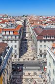 Lisbon, Portugal. August 31, 2014: Aerial view of the Augusta Street and the Downtown District, known as Baixa. The most cosmopolitan street of the city is permanently full with Lisboans and tourists