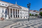 Lisbon, Portugal. August 31, 2014: Dona Maria II National Theatre in Rossio Square, the main square