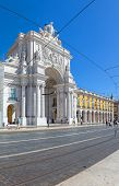 Lisbon, Portugal. August 31, 2014: Commerce Square, Praca do Comercio or Terreiro do Paco, with the iconic Triumphal Arch  in Lisbon Baixa District (Downtown)
