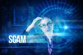 The word scam and businesswoman thinking against blue technology interface with dial