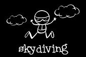 Illustration of a doodle of skydiving