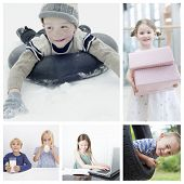 Collage of children doing different activities