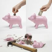 Collage of man saving money into piggybank for retirement