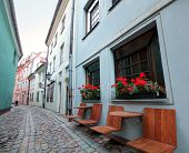 Narrow medieval street in old city of Riga, Latvia. In 2014, Riga is the European capital of culture