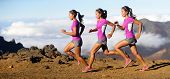 Running woman - runner in speed showing sprinting motion. Female sport athlete sprinter composite in beautiful nature landscape. Fit fitness model in fast sprint run in dramatic nature landscape.