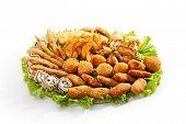 Deep Fried Food with Fresh Salad Leaf