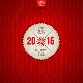 Christmas and New year greeting label on a red knitted background - vector illustration