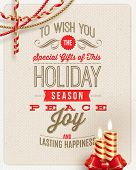 Christmas type design, holidays decoration and candles on a cardboard background - vector illustration