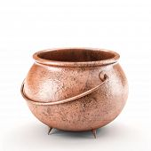 3d image of copper pot on white background