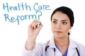 stock photo of health-care  - Stock image of female doctor writing on whiteboard - JPG