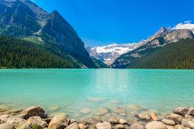 image of lp  - Majestic mountain lake in Canada - JPG