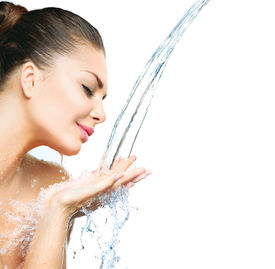pic of cleanse  - Beautiful Model Girl with splashes of water in her hands - JPG