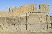Bas-relief at the ruins of Persepolis in Shiraz, Iran.