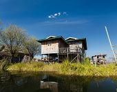 Stilted houses in village on Inle lake, Myanmar