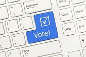 White Conceptual Keyboard - Vote (blue Key)